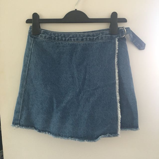 SEED denim wrap skirt