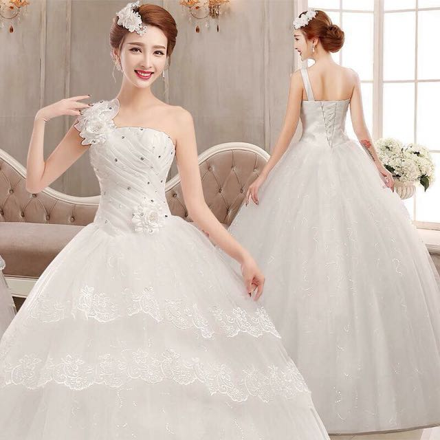 One Sided Wedding Gown Women S Fashion Clothes Dresses Skirts On Carou