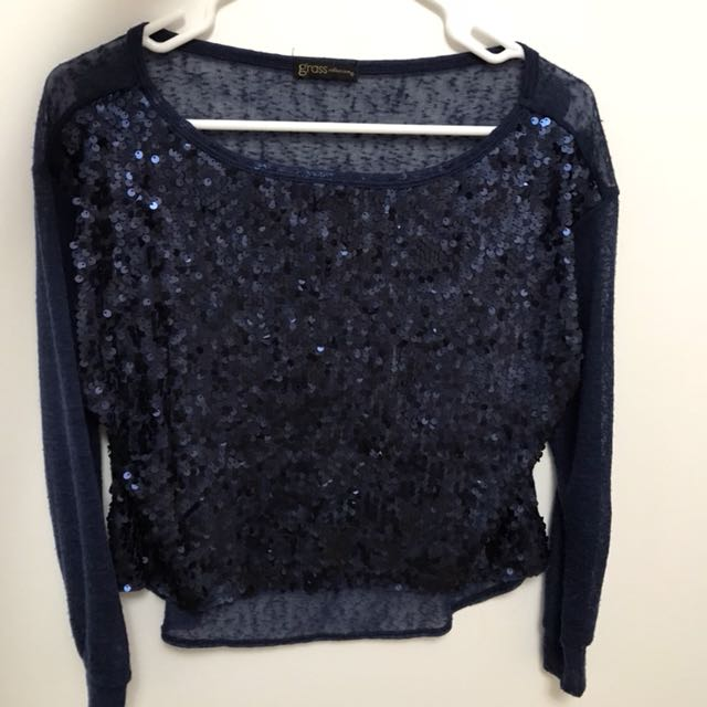 Sequined navy blue shirt