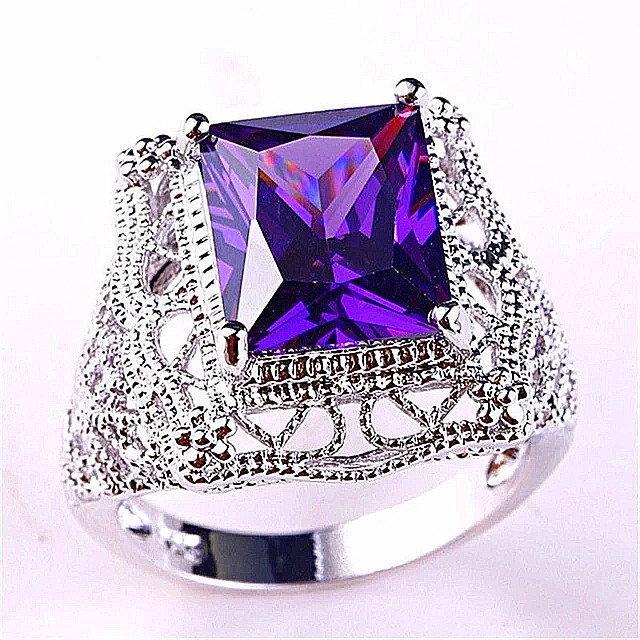 """Size 8 Ladies 6 CTW Purple Amethyst that displays V-Shaped Chevrons of Deep Purple and White Quartz that """"seep"""" into beautiful layers plated 18K White Gold NEW"""