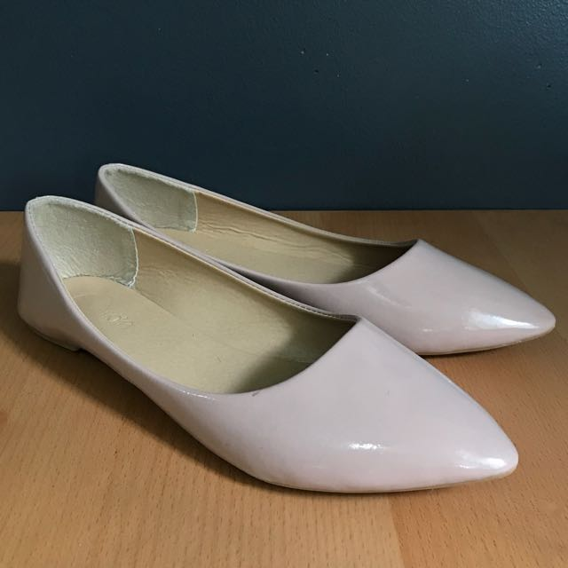 Solemate Nude Patent Flats