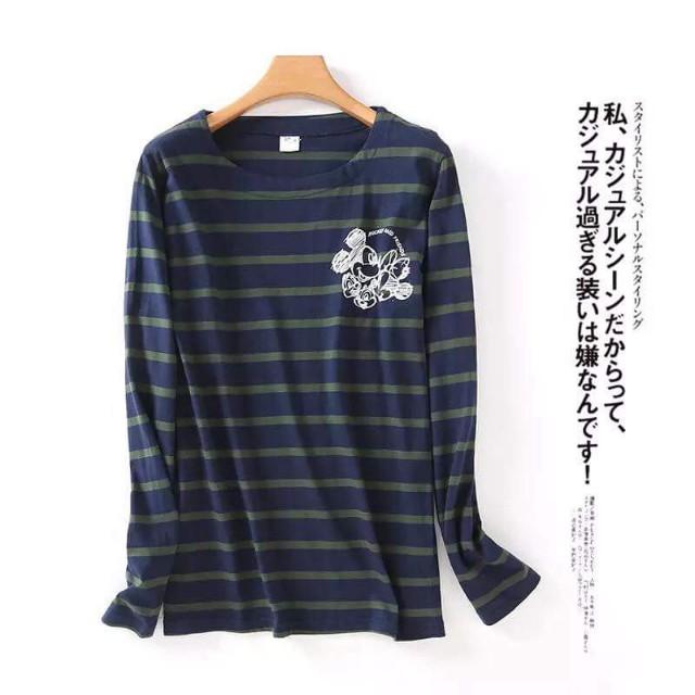 【全新】米奇條紋棉T