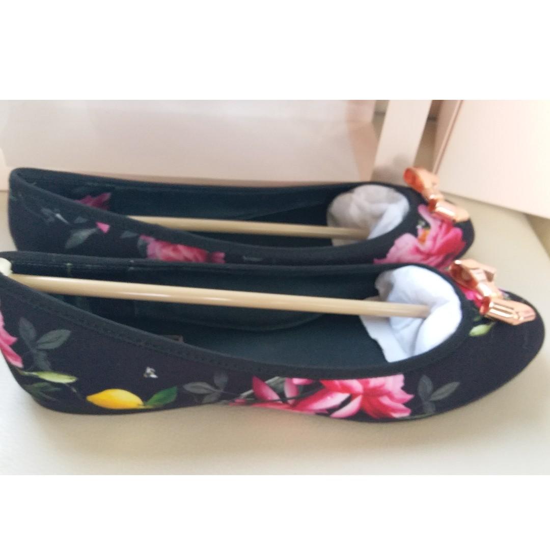 "Ted Baker ""Citrus Bloom"" Flower Lemon Canvas Shoes Ballerina Flats"