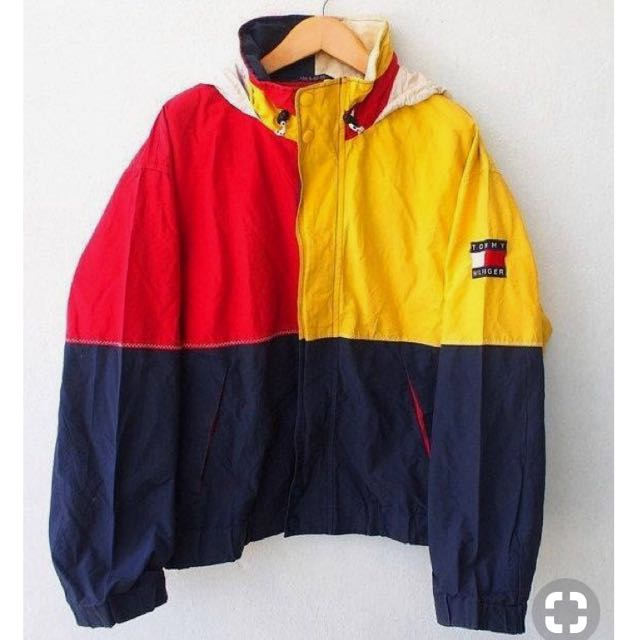 e93940ebd TOMMY Hilfiger Color Block Neon Vintage 90's Hip Hop Yellow Red ...