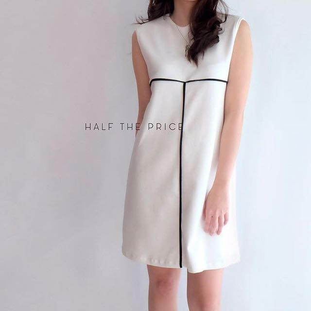 White Ribbed Dress by HTP