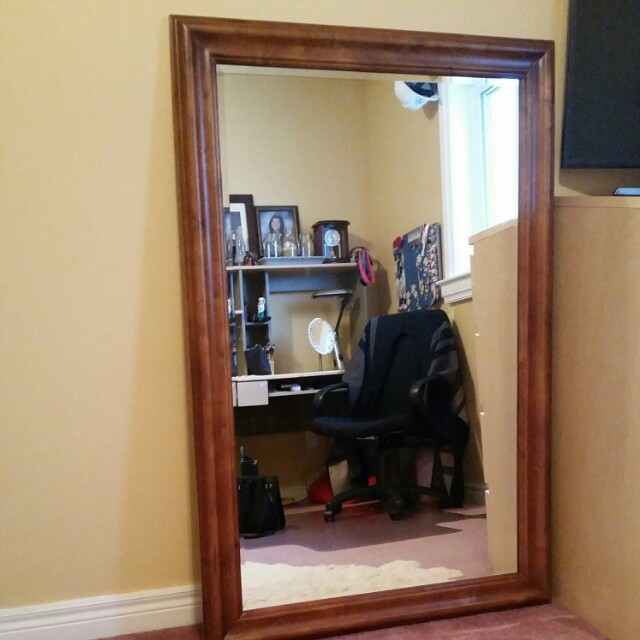 "Wood frame mirror 35"" x 53.5"""