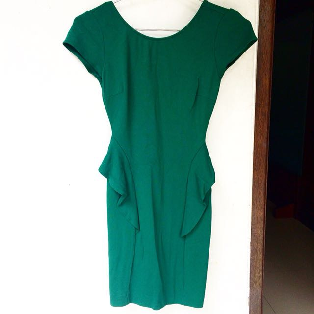 Zara Green Peplum Cocktail Party Dress