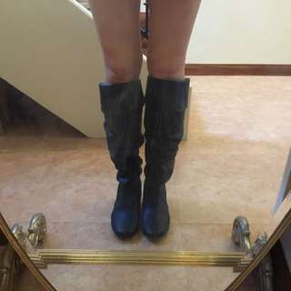 Knee high faux leather boots size 6.5