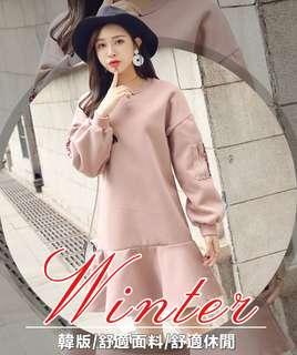 2017韓版時尚加大碼女裝新款 春裝荷葉邊毛呢連衣裙 微胖mm100公斤可穿