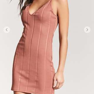 Ribbed Cami Peach Dress