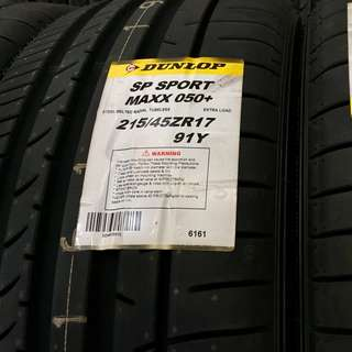 **YEAR END CLEARANCE MEGA SALE!** Brand New Dunlop SP SportMaxx 050+215/45R17
