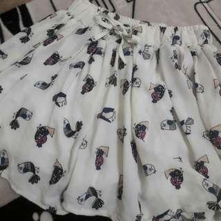 小鳥棉麻短褲
