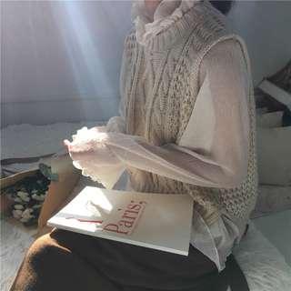預購預購~秋冬韓版褶皺網紗立領針織真兩件