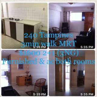Tampines MRT 2+1 Furn with ac (no agent fee)