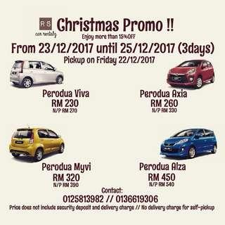 Car for Rent. Perodua Viva Axia Myvi Alza