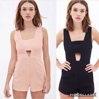 Forever 21 woven cutout sleeveless romper jumpsuit