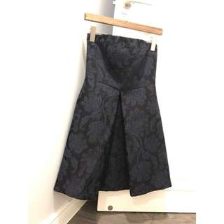 Zara basic collection 平口深藍色小洋裝