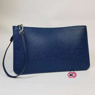 AUTHENTIC LOUIS VUITTON EPI LEATHER NEVERFULL POCHETTE BLUE CLUTCH