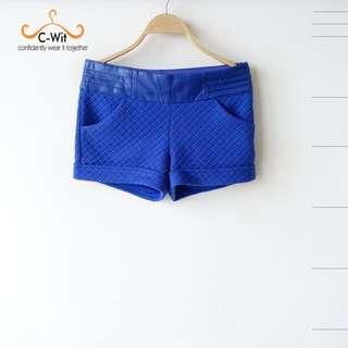 原價5680!全新專櫃附吊牌 品牌專屬 特殊立體面料 腰間拼接皮革零格設計褲(寶藍)XL