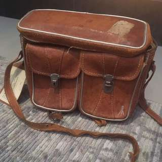 Large vintage Italian leather camera bag purse with identification tag