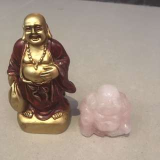 set of two small Buddha figurines