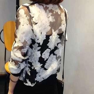 Black Floral Translucent Jacket