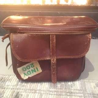 Large vintage leather camera bag satchel purse