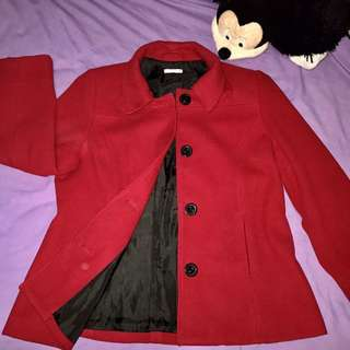RED THICK TRENCH COAT