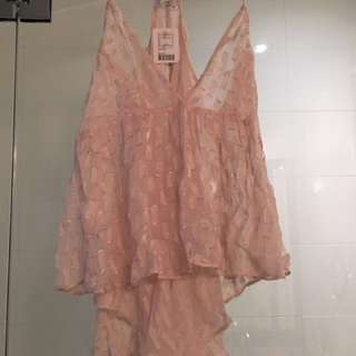Urban Outfitters pink sheer blouse