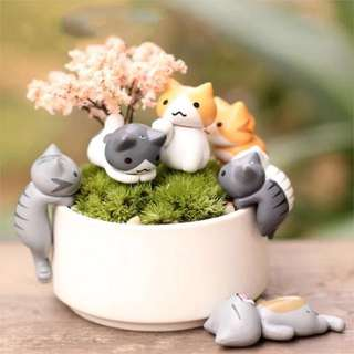 Lucky Cartoon Cats Kittens| Micro Landscape Decorations | Set of 6 | FREE delivery