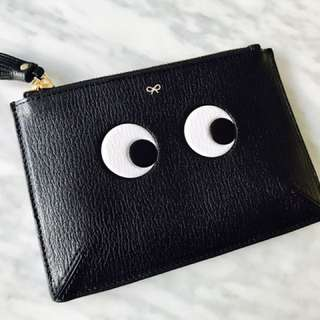 Anya Hindmarch London (Authentic) Loose Pocket Small Eyes in Black Capra (18x12cm)