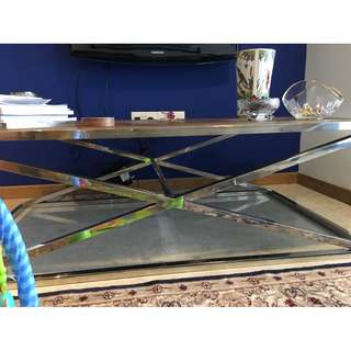 Coffee Table Great Chrome and Oakwood Coffee Table