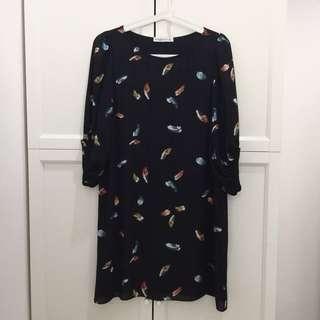 Feather print Black Dress 3/4 Sleeve Terusan Lengan Panjang Hitam