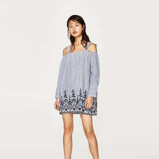 Zara stripe babydoll dress with embroidered detailing