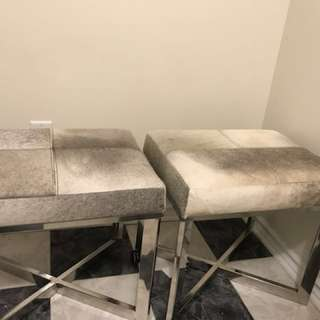 Pair of Brand new grey hide stools