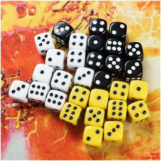 10PCS. D6 DICE SET - PIPS (12mmx12mmx12mm)