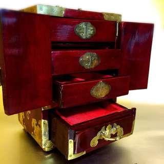 手工中式手飾木櫃(中國工藝品進出口總公司)外銷產品 古董首飾木櫃 還有當年包裝紙