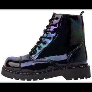 TUK iridescent holographic boots NEW