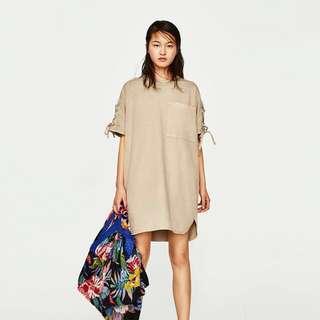 ZARA Contrast Lace Sleeves Pocket Dress