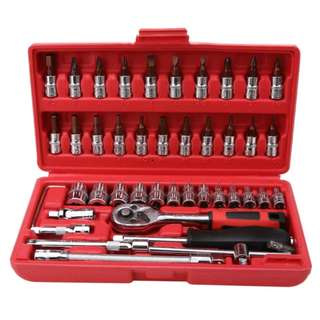 46 pcs Spanner Socket Set Ratchet Wrench Set Car Repair Tool