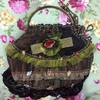 Green Purse Shape Sling Bag with Lace details