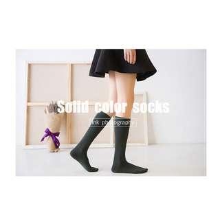 學院風膝上襪 及膝襪 長筒襪 秋冬新品 純棉菱格 小腿襪【A057】