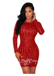 Sequin goddess mini red