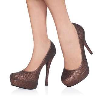 Brown Glitter Heels