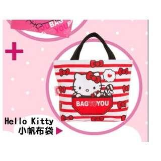 (全新)可愛Hello Kitty凱蒂貓白底紅色蝴蝶結小帆布袋/手提袋/小方包/購物袋/環保袋/收納袋/外出包/手拎包/手提包/萬用包/托特包