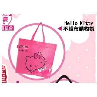 (全新)可愛Hello Kitty凱蒂貓桃紅色不織布購物袋/手提袋/大方包/環保袋/收納袋/外出包/手拎包/手提包/萬用包