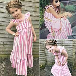 Baby Girl V-neck Sleeveless Casual Striped Dress