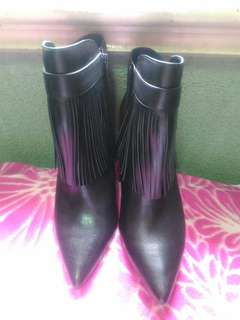 Classy Fringe Black Boots by Charles and Keith