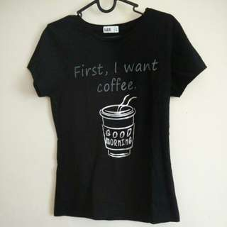 First, I want coffee. Metalic Good Morning coffee cup t-shirt black