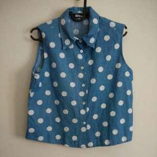 Blue Sleeveless Collar Polka Dot Shirt/Vest